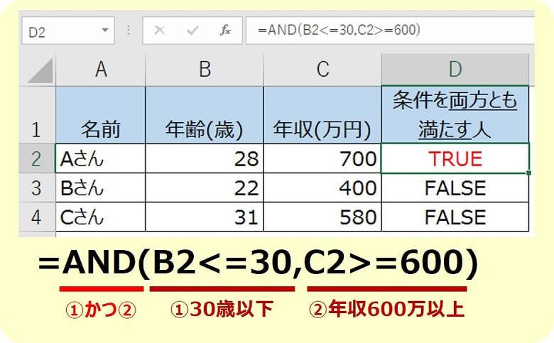 エクセルAND関数2