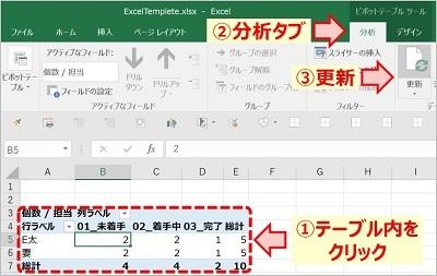 ピボットテーブルデータ更新3