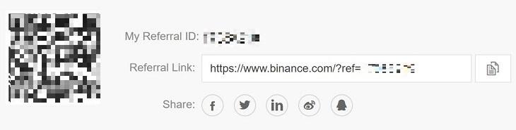 BinanceアフィリエイトURL取得画面