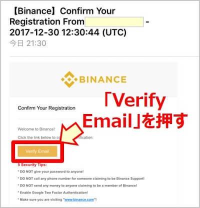 画像説明:Verify Emailを押します。