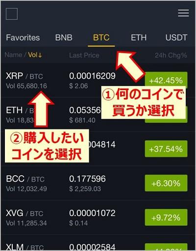 画像説明:何のコインで買うか選択し、購入したいコインを選択