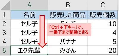 セル結合していない場合、Ctrl+下キーで一番下まで移動できる