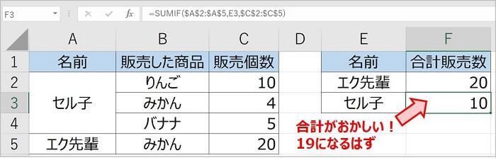 セル結合しているとSUMIF関数の集計結果がおかしい