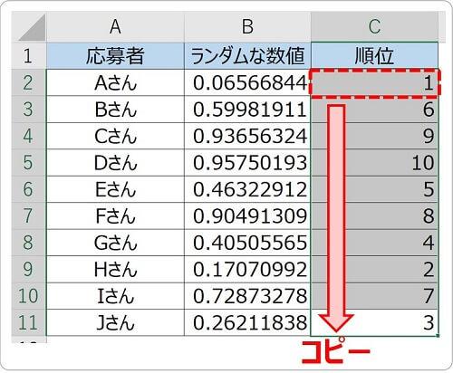 RANK関数を入力したセルをコピーする
