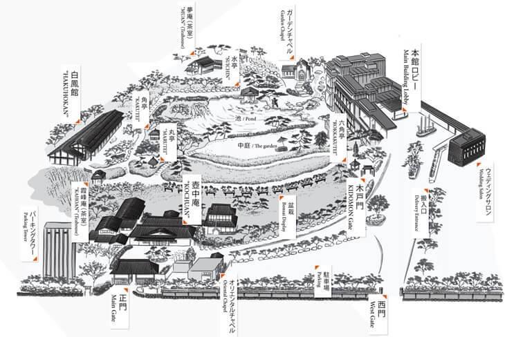 八芳園の庭園マップ