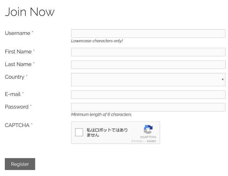 Action Coinアカウント登録画面