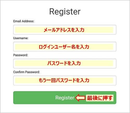画像説明:メールアドレス・ユーザー名・パスワードを入力し、登録する。
