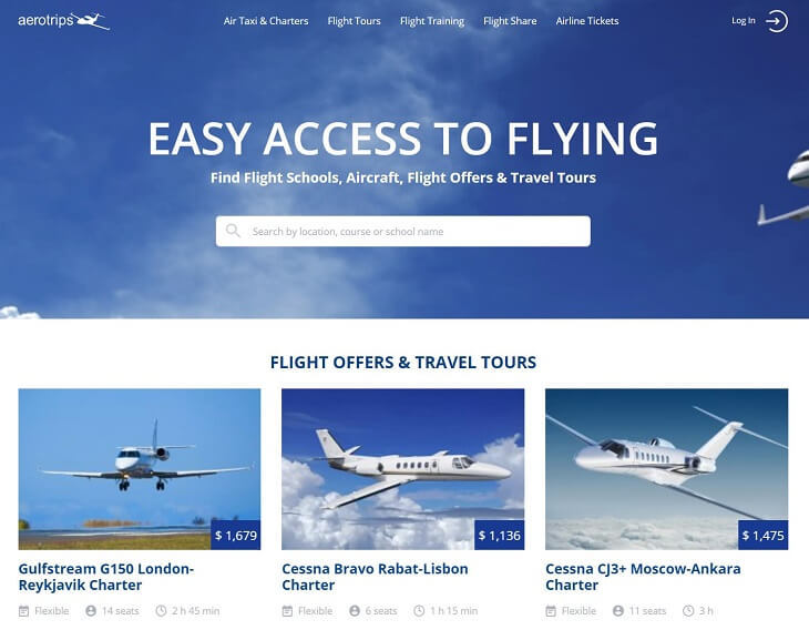 ウェブポータル「aerotrips.com」