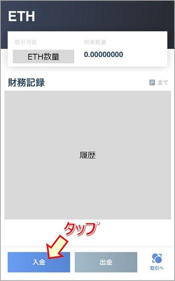 Huobi:本人資産画面(ETHの場合)
