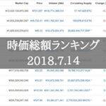 仮想通貨時価総額ランキング(2018年7月14日)