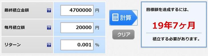 毎月2万円をメガバンク普通預金で積立した場合