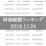 仮想通貨時価総額ランキング(2018年11月24日)