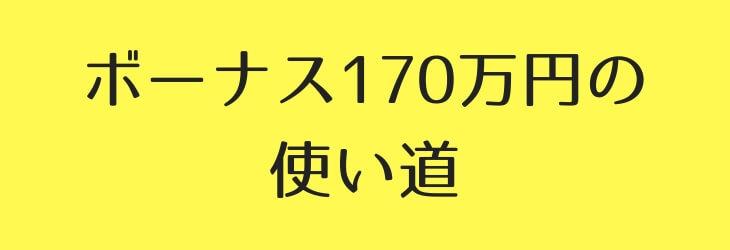 ボーナス170万円の使い道