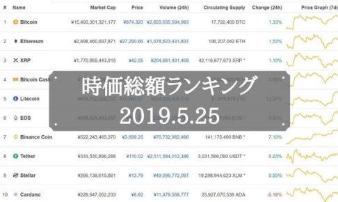 仮想通貨ランキング(2019/5/25)