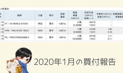 2020年1月の買付報告