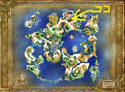 DQ6下の世界 全体マップ→ザクソンの村周辺の場所