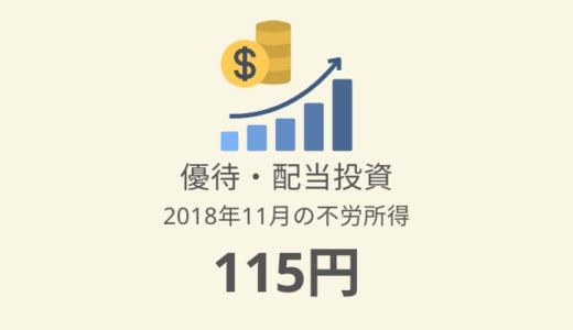 【株主優待・配当金生活】2018年11月の収入は115円でした。これから本腰を入れます!