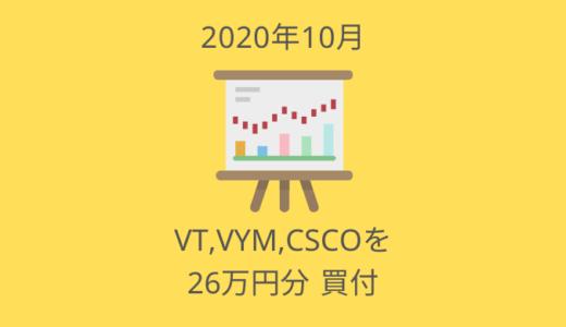 VT,VYM,CSCOを25.9万円分買い増したよ【2020年10月の投資ログ】