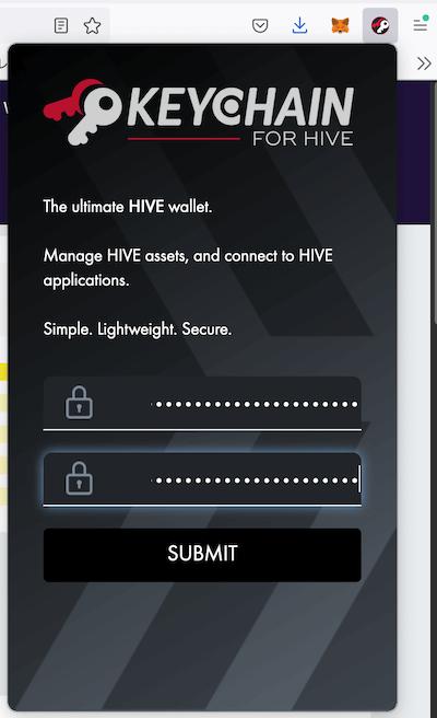 Hive Keychainのパスワード設定