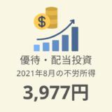 【株主優待・配当金生活】2021年7月の収入は3,977円!評価額787万