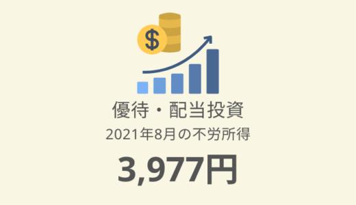【株主優待・配当金生活】2021年8月の収入は3,977円!評価額787万